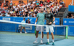 Viktor Durasovic of Norway and Aljaz Bedene of Slovenia prior to the Final match at Day 10 of ATP Challenger Zavarovalnica Sava Slovenia Open 2019, on August 18, 2019 in Sports centre, Portoroz/Portorose, Slovenia. Photo by Vid Ponikvar / Sportida