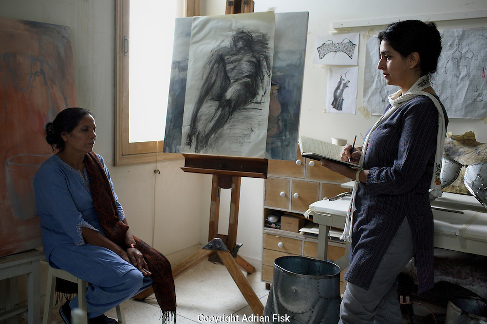 Naiza Khan at work in her studio in karachi.