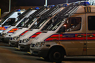 General view of Police vans outside White Hart Lane stadium, home of Tottenham Hotspur Football Club, before the UEFA Europa League match at White Hart Lane, London<br /> Picture by David Horn/Focus Images Ltd +44 7545 970036<br /> 27/02/2014
