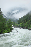 Wenatchee River flowing with spring melt through Tumwater Canyon. North Cascades Washington