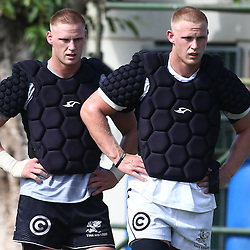DURBAN, SOUTH AFRICA, Tuesday, 23rd February 2016 - Jean-Luc du Preez with Daniel Du Preez during The Cell C Sharks  Media Interviews in The Sharks Gym,and<br /> Pre Season training for the 2016 Super Rugby Season at Growthpoint Kings Park in Durban, South Africa. (Photo by Steve Haag)<br /> images for social media must have consent from Steve Haag