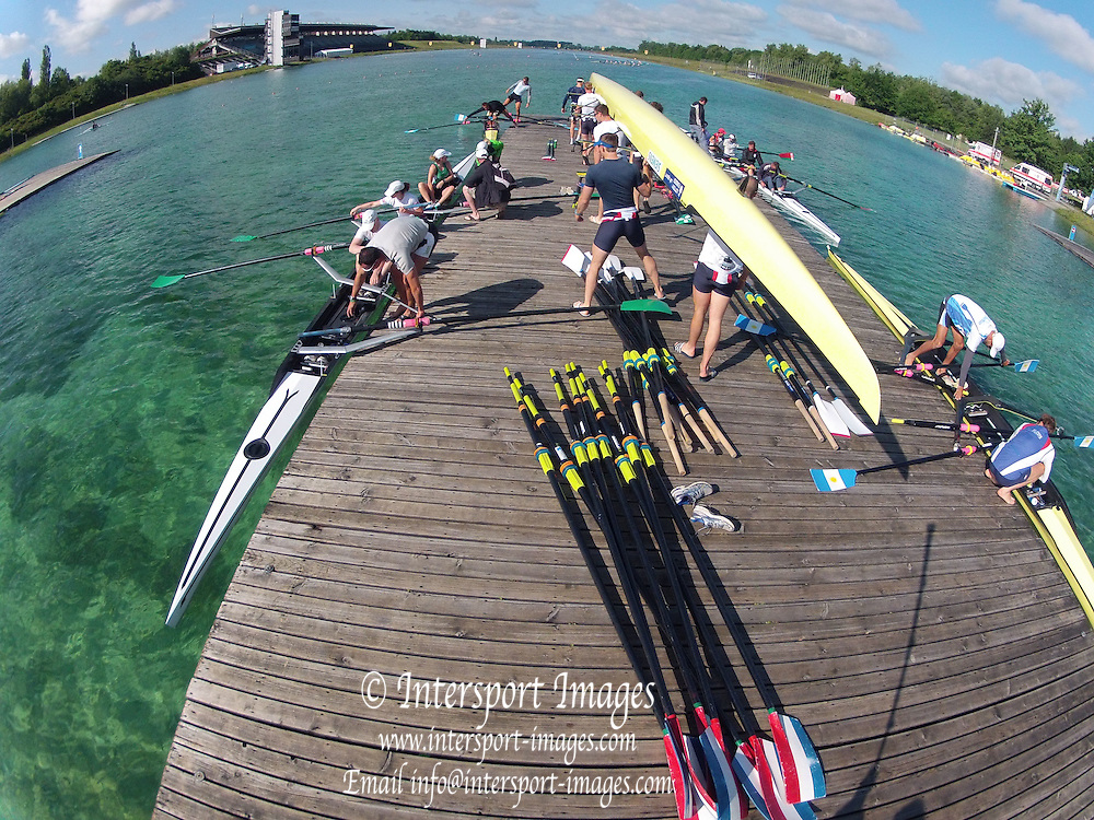 Munich, GERMANY,    General Views, GV's,  of the Boathouse and  Boating Area, GBR M8+   Boating for their morning training outing. 2012 World Cup III on the Munich Olympic Rowing Course,  Thursday  14/06/2012  [Mandatory Credit Peter Spurrier/ Intersport Images]..