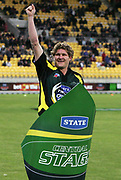 Central Stags player Tim Weston celebrates winning the segway race during the State Twenty20 uniform launch held during the break in innings at the first Twenty20 match between the New Zealand Black Caps and Sri Lanka held at Westpac Stadium in Wellington, New Zealand on Friday, 22 December 2006. Sri Lanka won the match on Duckworth Lewis calculations. Photo: Tim Hales/PHOTOSPORT