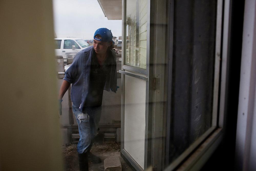 A migrant worker working at Daneco Alligator Farm in Houma, Louisiana on Friday, February 19, 2010.