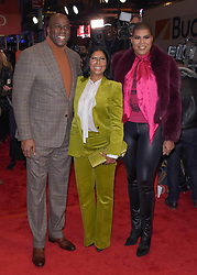 "Magic Johnson, Cookie Johnson and EJ Johnson at the Broadway opening of ""To Kill A Mockingbird"" in New York City."