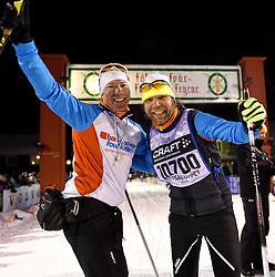 06-03-2016 SWE: Vasaloppet Challenge BvdGF day 7, Sälen<br /> Vandaag een rustig dagje, 90 km langlaufen van Sälen naar Mora in bizarre omstandigheden / Rolf komt over de finish, Niels