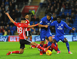 Kevin Bru of Ipswich Town tackles Lee Peltier of Cardiff City  - Mandatory by-line: Nizaam Jones/JMP - 31/10/2017 -  FOOTBALL - Cardiff City Stadium- Cardiff, Wales -  Cardiff City v Ipswich  Town- Sky Bet Championship
