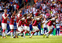 The Arsenal players celebrate Olivier Giroud of Arsenal scoring the winning penalty in the Community Shield - Mandatory by-line: Robbie Stephenson/JMP - 06/08/2017 - FOOTBALL - Wembley Stadium - London, England - Arsenal v Chelsea - FA Community Shield