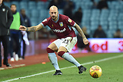 Aston Villa defender Alan Hutton (21) looks to release the ball during the EFL Sky Bet Championship match between Aston Villa and Nottingham Forest at Villa Park, Birmingham, England on 28 November 2018.