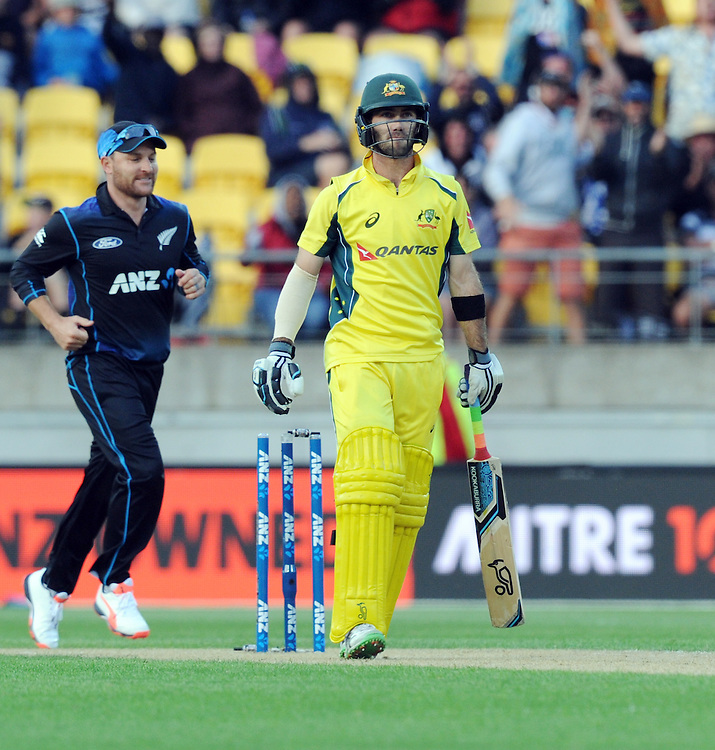 Australia's Glenn Maxwell bowled for 6 by New Zealand's Trent Boult in the 2nd One Day International Cricket match at Westpac Stadium, Wellington, New Zealand, Saturday, February 06, 2016. Credit:SNPA / Ross Setford