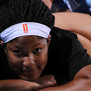 Chicago Sky Center Markeisha Gatling (9) receives treatment prior to a WNBA preseason basketball game between the Chicago Sky and the New York Liberty Friday, May. 22, 2015 at The Bob Carpenter Sports Convocation Center in Newark, DEL