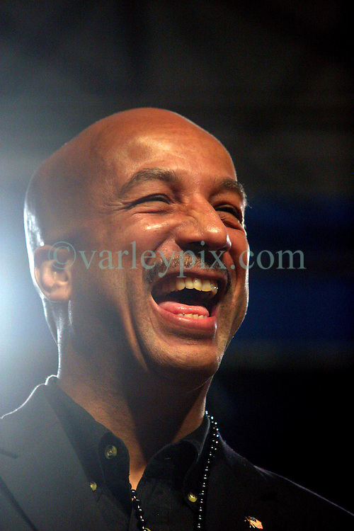 February 23 2009. New Orleans, Louisiana. <br /> Lundi Gras. Mayor Ray Nagin is in high spirits to welcome the King of Rex, masked and unidentified as he comes ashore to give his Official Proclamation of Carnival, marking the commencement of the revelry that is Mardi Gras. Rex is the oldest traditional parade and King of Mardi Gras, founded in 1872.<br /> Photo; Charlie Varley/varleypix.com