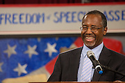 Dr. Ben Carson smiles as he addresses the South Carolina Tea Party Coalition convention on January 18, 2015 in Myrtle Beach, South Carolina. A variety of conservative presidential hopefuls spoke at the gathering on the third day of a three day event.