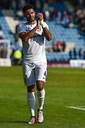 Coventry City defender Jordan Willis (4) applauds the fans after the EFL Sky Bet League 1 match between Gillingham and Coventry City at the MEMS Priestfield Stadium, Gillingham, England on 25 August 2018.