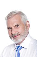 handsome caucasian senior man portrait smiling isolated studio on white background