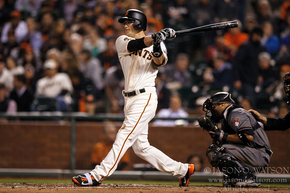 SAN FRANCISCO, CA - APRIL 18: Kelby Tomlinson #37 of the San Francisco Giants at bat against the Arizona Diamondbacks during the fourth inning at AT&T Park on April 18, 2016 in San Francisco, California. The Arizona Diamondbacks defeated the San Francisco Giants 9-7 in 11 innings.  (Photo by Jason O. Watson/Getty Images) *** Local Caption *** Kelby Tomlinson