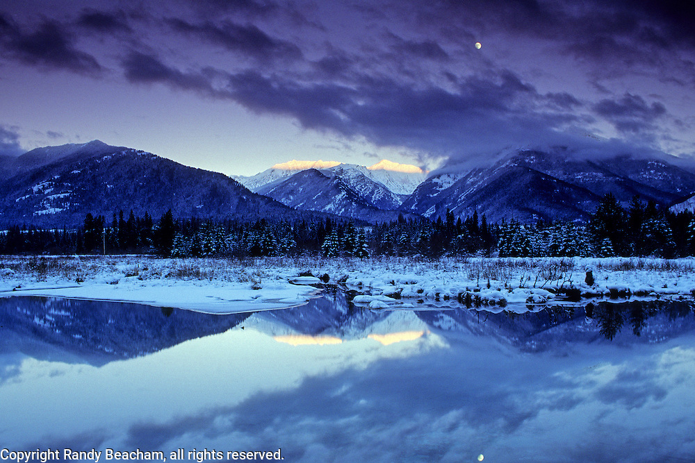 Bull River and the Cabinet Mountains in winter. Bull River Valley, Montana.