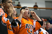"Jake Saxton '17 reacts to a ""no-goal"" call during an exhibition game at RIT's Gene Polisseni Center on Monday, September 29, 2014."