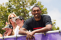 21 June 2010: Ron Artest of the Los Angeles Lakers celebrates during the Lakers Championship Victory Parade on Figueroa BL. in Los Angeles, CA after the Lakers won the 2010 NBA Championship over the Boston Celtics in Game 7 of the NBA Finals.