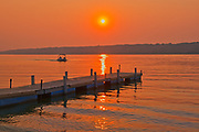 Dock on Pasqua Lake st sunset<br />Echo Valley Provincial Park<br />Saskatchewan<br />Canada