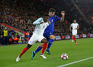 England's Demarai Gray tussles with Italy's Mattia Caldara during the Under 21 International Friendly match at the St Mary's Stadium, Southampton. Picture date November 10th, 2016 Pic David Klein/Sportimage