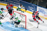 KELOWNA, CANADA - DECEMBER 6: Tyson Baillie #24 of Kelowna Rockets skates behind the net with the puck against the Prince Albert Raiders on December 6, 2014 at Prospera Place in Kelowna, British Columbia, Canada.  (Photo by Marissa Baecker/Shoot the Breeze)  *** Local Caption *** Tyson Baillie;