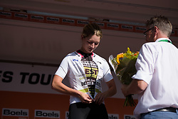 Karlijn Swinkels takes the lead in the youth classification at Boels Rental Ladies Tour Stage 3 a 16.9 km individual time trial in Roosendaal, Netherlands on August 31, 2017. (Photo by Sean Robinson/Velofocus)
