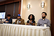 """Marisha Ash, center right, speaks on the topic of """"Creating Impact and Staying Engaged While in College"""" during the Black Excellence Youth Conference at the Best Western Plus Inntowner on Monday, Jan. 15, 2018."""