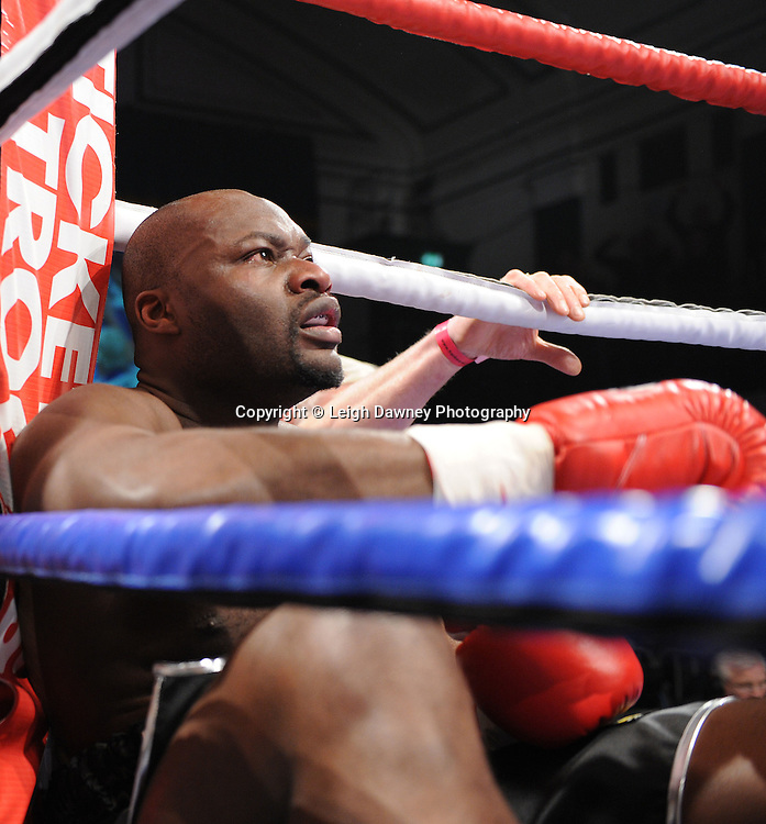 BBBofC Southern Area Heavyweight Title. Larry Olubamiwo drops to the canvas facing defeat by John McDermott at York Hall, Bethnal Green, London on the 19th February 2011. Frank Warren Promotions. Photo credit © Leigh Dawney.