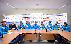 Skiers at press conference of Men Slovenian alpine team before the World Championship in Val d'Isere, France,  on January 26, 2009, in Ljubljana, Slovenia.  (Photo by Vid Ponikvar / Sportida)