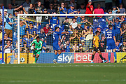 Second goal for Bristol Rovers after AFC Wimbledon goalkeeper Nathan Trott (1)was deemed to carry ball over line during the EFL Sky Bet League 1 match between AFC Wimbledon and Bristol Rovers at the Cherry Red Records Stadium, Kingston, England on 21 September 2019.