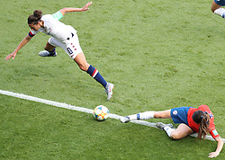 2019?6?17?.   ???????????——F??????????.    6?16????????????????????????????? .    ?????????????????2019??????????F??????????3?0??????.   ?????????..(1906017) -- PARIS, June 17, 2019  Carli Lloyd (L) of the United States vies with Carla Guerrero of Chile during the Group F match between the United States and Chile at the 2019 FIFA Women's World Cup in Parc des Princes in Paris, France, June 16, 2019.  The United States won 3-0. (Credit Image: © Xinhua via ZUMA Wire)