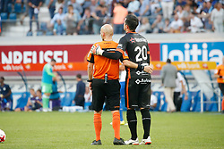 August 27, 2017 - Gent, BELGIUM - referee Sebastien Delferiere and Gent's goalkeeper Yannick Thoelen pictured after the Jupiler Pro League match between KAA Gent and RSC Anderlecht, in Gent, Sunday 27 August 2017, on the fifth day of the Jupiler Pro League, the Belgian soccer championship season 2017-2018. BELGA PHOTO BRUNO FAHY (Credit Image: © Bruno Fahy/Belga via ZUMA Press)