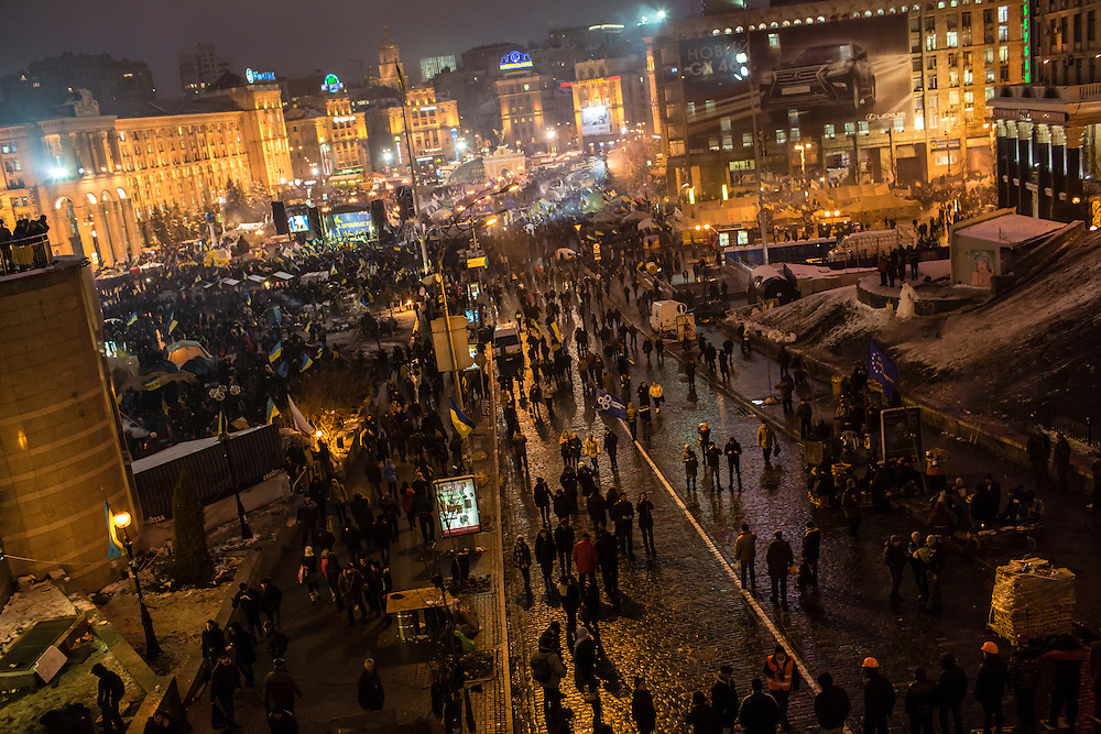 KIEV, UKRAINE - DECEMBER 12: Anti-government protesters continue to gather in Independence Square on December 12, 2013 in Kiev, Ukraine. Thousands of people have been protesting against the government since a decision by Ukrainian president Viktor Yanukovych to suspend a trade and partnership agreement with the European Union in favor of incentives from Russia. (Photo by Brendan Hoffman/Getty Images) *** Local Caption ***
