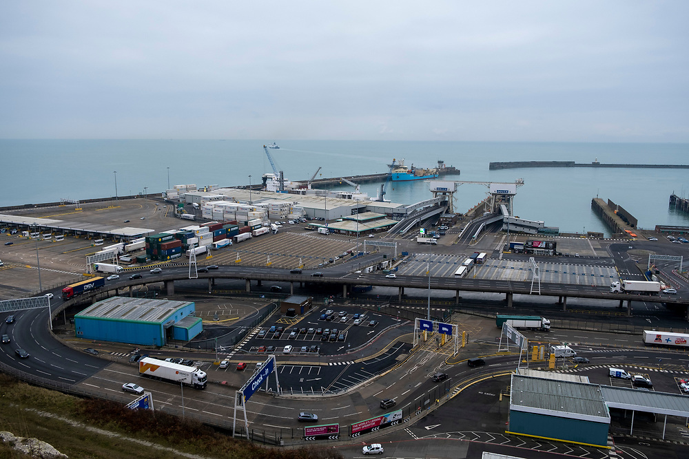 The Eastern Dock of the Port of Dover is where the cross channel port is situated with ferries departing here to go to Calais in France. Dover, Kent, United Kingdom.  Dover is the nearest port to France with just 34 kilometres (21 miles) between them. It is one of the busiest ports in the world. As well as freight container ships it is also the main port for P&O and DFDS Seaways ferries.  (photo by Andrew Aitchison / In pictures via Getty Images)