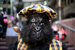 © Licensed to London News Pictures. 22/09/2012. LONDON, UK. A runner wearing a golf themed gorilla costume poses for a portrait as he waits to begin the 2012 Great Gorilla Run in London today (22/09/12). Now in its 10th year, the annual event sees hundreds of competitors take part in a 7km fun-run dressed as gorillas to raise money for mountain gorilla conservation projects in Africa. Photo credit: Matt Cetti-Roberts/LNP