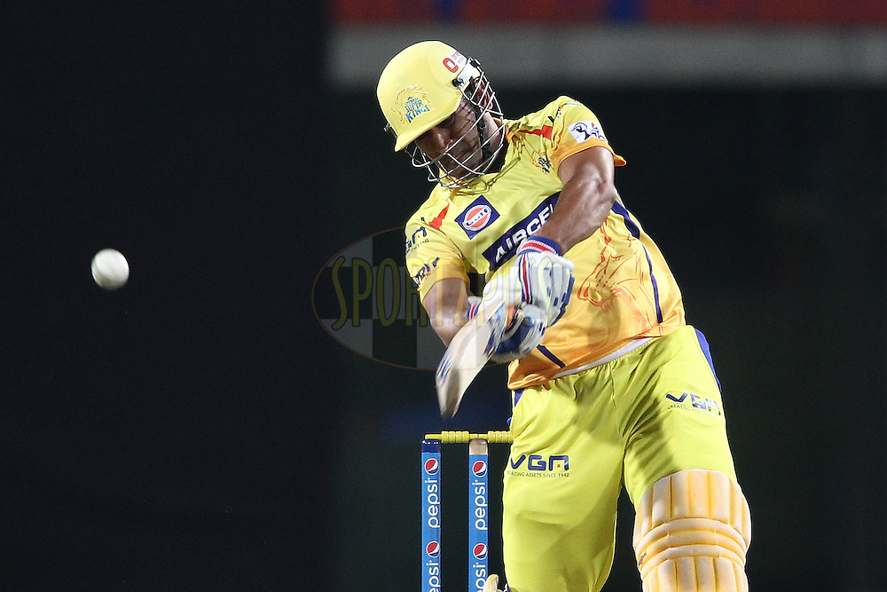 MS Dhoni captain of The Chennai Super Kings hits over the top for a boundary during match 21 of the Pepsi Indian Premier League Season 2014 between the Chennai Superkings and the Kolkata Knight Riders  held at the JSCA International Cricket Stadium, Ranch, India on the 2nd May  2014<br /> <br /> Photo by Shaun Roy / IPL / SPORTZPICS<br /> <br /> <br /> <br /> Image use subject to terms and conditions which can be found here:  http://sportzpics.photoshelter.com/gallery/Pepsi-IPL-Image-terms-and-conditions/G00004VW1IVJ.gB0/C0000TScjhBM6ikg