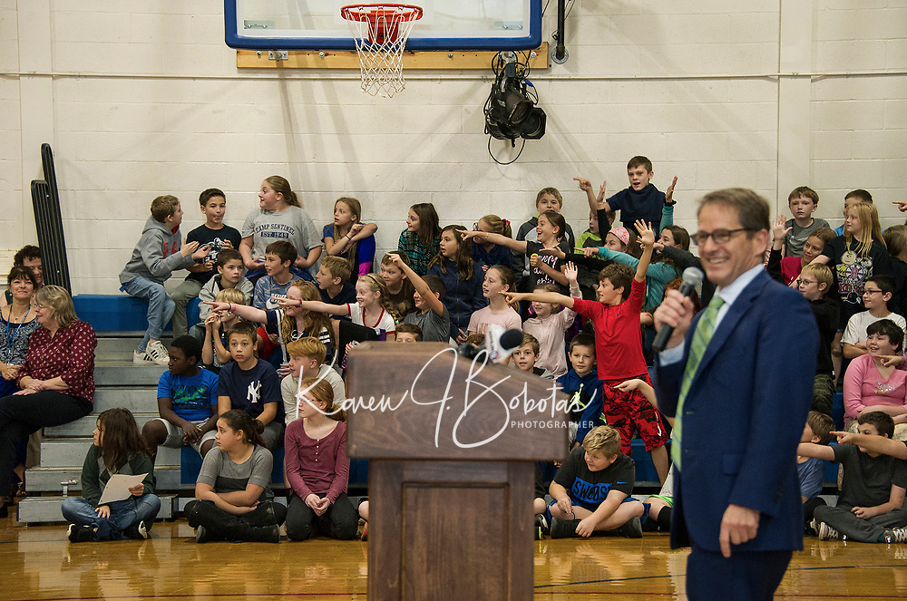 After receiving clues from NH Dept of Education Commissioner Frank Edelblut the fifth grade class were confident they knew who was going to be announced as the 2019 Teacher of the Year at Belmont Middle School Wednesday morning.   (Karen Bobotas/for the Laconia Daily Sun)