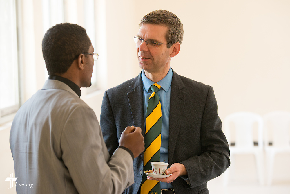 The Rev. Dr. Jeffrey Kloha, provost of Concordia Seminary, St. Louis, mingles during a break in discussions at the Mekane Yesus Seminary in Addis Ababa, Ethiopia, on Tuesday, Nov. 11, 2014. LCMS Communications/Erik M. Lunsford