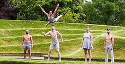 Pictured: Jon Bonaventuta (long trousers fair hair), Johnny Brown (shorts), Sarah McDougall (skirt), Shannan Vitali (shorts) and David Trappes (long trousers dark hair) Make up The Casus Circus<br /> Driftwood. The Casus Circus will be performing at the Edinburgh Festival fringe 2017.  Their latest performance compares humans to pieces of driftwood that floats along water<br /> Ger Harley | EEm 2 August  2017