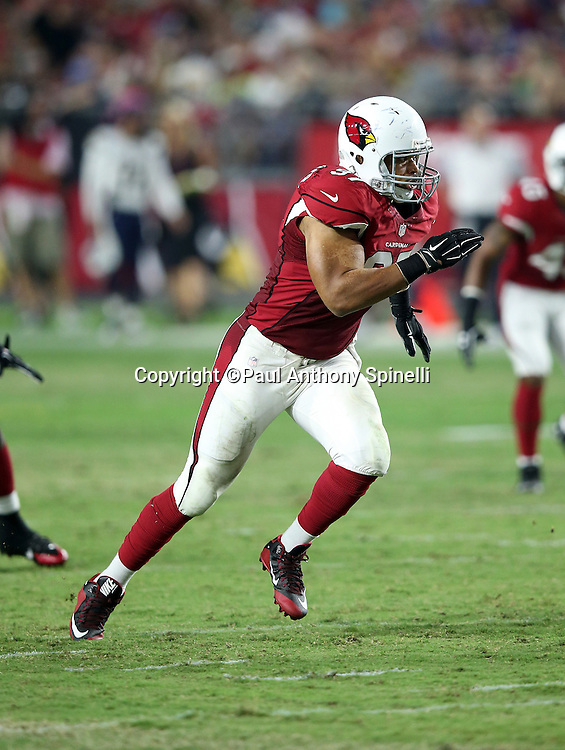 Arizona Cardinals outside linebacker Lorenzo Alexander (97) chases the action during the 2015 NFL preseason football game against the San Diego Chargers on Saturday, Aug. 22, 2015 in Glendale, Ariz. The Chargers won the game 22-19. (©Paul Anthony Spinelli)