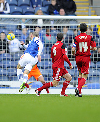 Blackburn Rovers' Danny Murphy opens the scoring for Blackburn  - Photo mandatory by-line: Joe Meredith/JMP  - Tel: Mobile:07966 386802 05/01/2013 - Blackburn Rovers v Bristol City - SPORT - FOOTBALL - FA Cup -  BLACKBURN - EWOOD PARK -