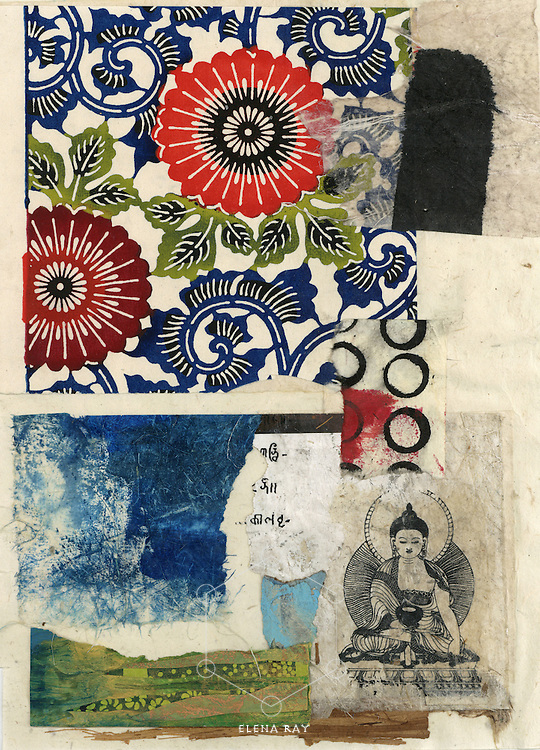 Mixed medium collage with asian elements.