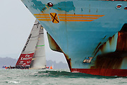 Racing is postponed while a ship transits the course area during the finals of the Louis Vuitton Pacific Series. 14/2/2009