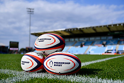 General views Premiership Rugby Cup Balls on the pitch prior to kick off  - Mandatory by-line: Ryan Hiscott/JMP - 21/09/2019 - RUGBY - Sandy Park - Exeter, England - Exeter Chiefs v Bath Rugby - Premiership Rugby Cup
