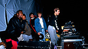 DJ and MC onstage at the first outdoor rave up North, The Gio Goi Joy Rave run by Anthony and Chris Donnelly, Ashworth Valley, Rochdale, 5th August 1989.
