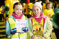 Twins Sarah and Niamh Kidd from Kinvara at the Darkness into Light Kinvara Galway which saw double the numbers of last year out at 4.15 am to walk into the light in aid of Pieta House.<br />  Photo:Andrew Downes, xposure.