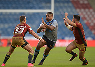 Jordan Turner of Huddersfield Giants looks for a gap in the Catalans Dragons defence during the Ladbrokes Challenge Cup match at the John Smiths Stadium, Huddersfield<br /> Picture by Richard Land/Focus Images Ltd +44 7713 507003<br /> 31/05/2018