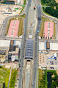 Nederland, Noord-Holland, Amsterdam-Noord, 29-06-2018; Buikslotermeer, Nieuwe Leeuwarderweg en Centrum Amsterdam Noord (CAN) rond eindpunt van Noord/Zuidlijn, Station Noord. Stadsdeelkantoor, ROC Amsterdam en Bredero MAVO naast het station.<br /> North Station w environment, terminus new subway /underground. <br /> luchtfoto (toeslag op standard tarieven);<br /> aerial photo (additional fee required);<br /> copyright foto/photo Siebe Swart