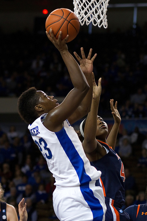 UK forward/center Samarie Walker, left, shoots over Auburn forward/center Tra'Cee Tanner in the second half. The University of Kentucky Women hosted Auburn University, Sunday, Jan. 20, 2013 at Memorial Coliseum in Lexington. Photo by Jonathan Palmer